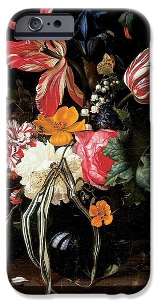 Floral Photographs iPhone Cases - Still Life Of Flowers, 1669 Oil On Canvas iPhone Case by Maria van Oosterwyck