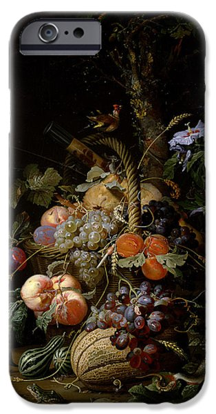 Lichen iPhone Cases - Still Life Of Fruit iPhone Case by Abraham Mignon