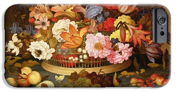 Ledge Photographs iPhone Cases - Still Life Of Fruit And A Basket Of Flowers, 1623 Oil On Panel iPhone Case by Balthasar van der Ast
