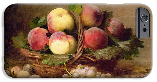 Basket iPhone Cases - Still Life Of Fruit Oil On Canvas iPhone Case by Leon-Charles Huber