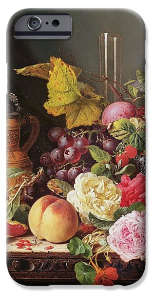 Ledge iPhone Cases - Still Life Oil On Canvas iPhone Case by Edward Ladell