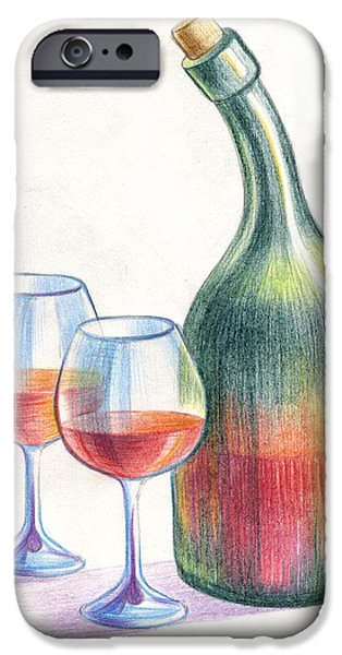 Wine Bottles Pastels iPhone Cases - Still Life iPhone Case by Olga Zelenkova