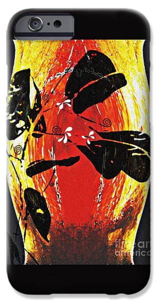 Modern Abstract iPhone Cases - Still Life Outside the Vase iPhone Case by Sarah Loft
