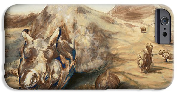 One Horned Rhino Paintings iPhone Cases - Still Life iPhone Case by Sarah Soward