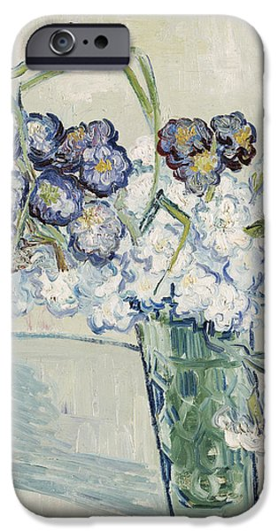 Flora iPhone Cases - Still Life Vase of Carnations iPhone Case by Vincent van Gogh
