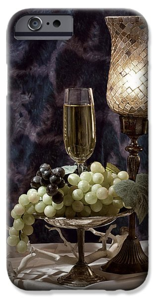 Glass Of Wine iPhone Cases - Still Life Wine with Grapes iPhone Case by Tom Mc Nemar