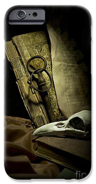 Still life with a bird skull iPhone Case by Jaroslaw Blaminsky
