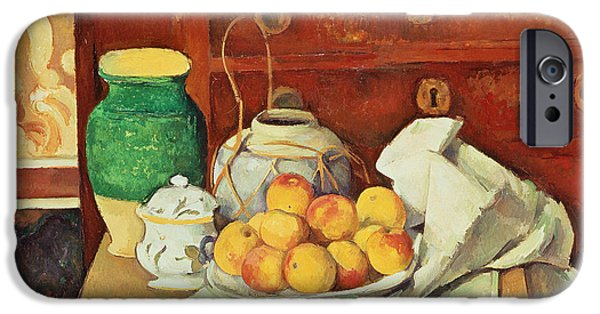 Interior Still Life Paintings iPhone Cases - Still Life with a Chest of Drawers iPhone Case by Paul Cezanne