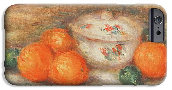 Impressionist Photographs iPhone Cases - Still Life With A Covered Dish And Oranges iPhone Case by Pierre Auguste Renoir