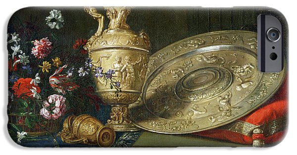 Basket iPhone Cases - Still Life With A Gilded Ewer Oil On Canvas iPhone Case by Meiffren Conte