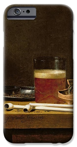 Smoking iPhone Cases - Still Life With A Glass Of Beer, Brazier And Clay Pipes Oil On Panel iPhone Case by Jan Jansz. van de Velde