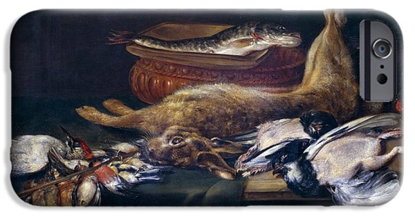 Still Life With Fish iPhone Cases - Still life with a hare fish and birds iPhone Case by Alexander Adriaenssen