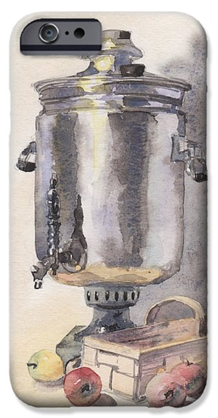 Green Day Paintings iPhone Cases - Still life with a Samovar iPhone Case by Masha Batkova