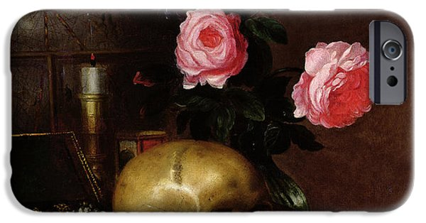Terrestrial iPhone Cases - Still Life With A Skull Oil On Canvas iPhone Case by Letellier