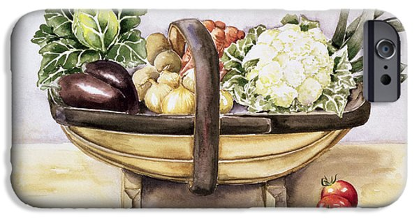 Still Life Drawings iPhone Cases - Still life with a trug of vegetables iPhone Case by Alison Cooper