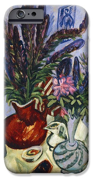 """indoor"" Still Life Paintings iPhone Cases - Still Life with a Vase of Flowers iPhone Case by Ernst Ludwig Kirchner"