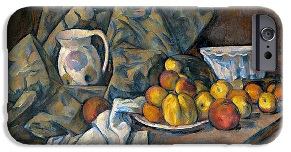Pears iPhone Cases - Still Life with Apples and Peaches iPhone Case by Paul Cezanne