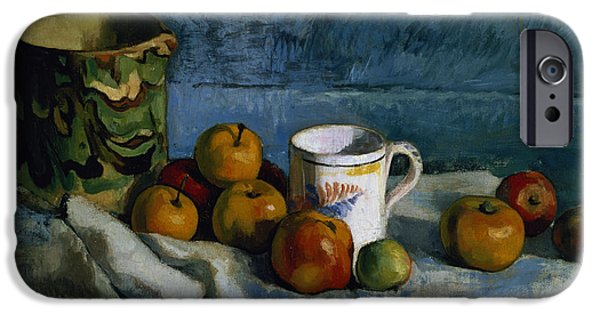 Still Life With Pitcher iPhone Cases - Still Life with Apples Cup and Pitcher iPhone Case by Paul Cezanne