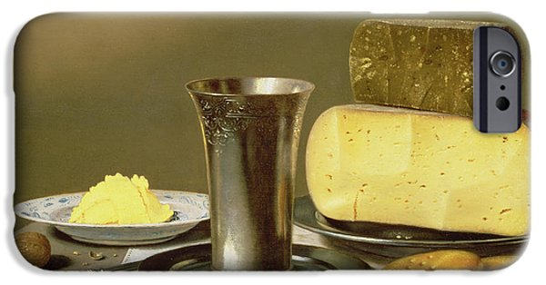 Cheese iPhone Cases - Still life with Beaker Cheese Butter and Biscuits iPhone Case by Floris van Schooten