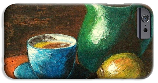 Old Pitcher Paintings iPhone Cases - Still Life with Blue Tea Cup iPhone Case by Ela Jamosmos