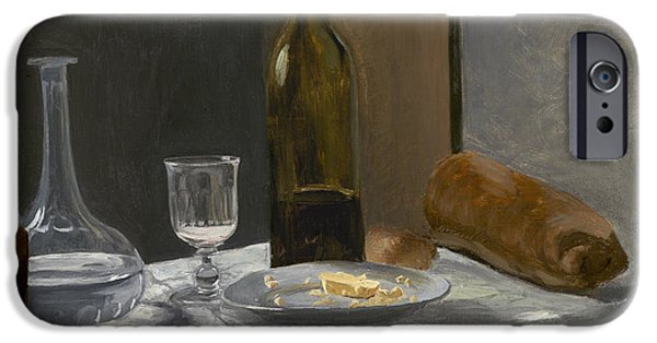 Table Wine iPhone Cases - Still Life with Bottle Carafe Bread and Wine iPhone Case by Claude Monet