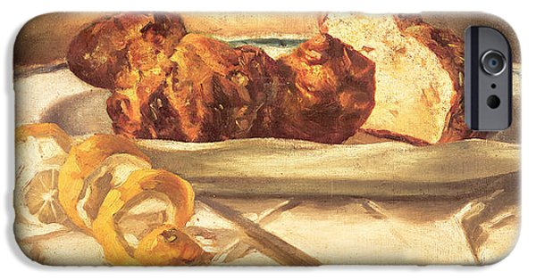 Table Cloth iPhone Cases - Still Life With Brioches And Lemon, 1873 Oil On Canvas iPhone Case by Edouard Manet