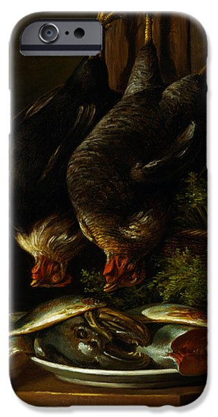 Still Life With Fish iPhone Cases - Still Life with Chickens and Fish iPhone Case by Celestial Images