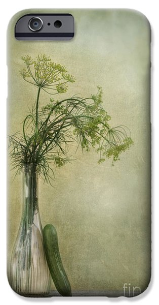 Glass Vase iPhone Cases - Still life with Dill and a cucumber iPhone Case by Priska Wettstein