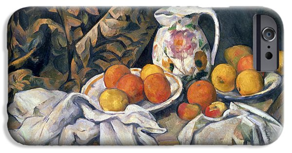 Pottery Paintings iPhone Cases - Still life with drapery iPhone Case by Paul Cezanne