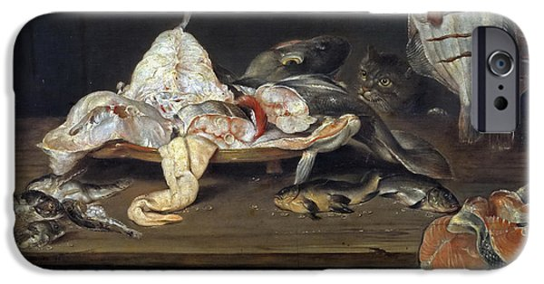 Still Life With Fish iPhone Cases - Still Life with Fish and a Cat iPhone Case by Alexander Adriaenssen