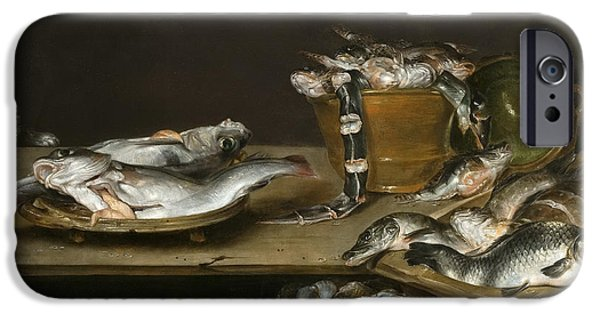 Still Life With Fish iPhone Cases - Still Life with Fish Oysters and a Cat iPhone Case by Alexander Adriaenssen