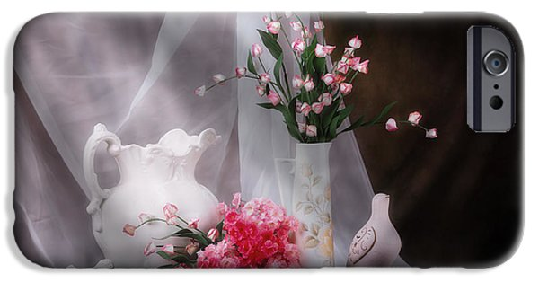 Pottery Pitcher iPhone Cases - Still Life with Flowers and Birds iPhone Case by Tom Mc Nemar