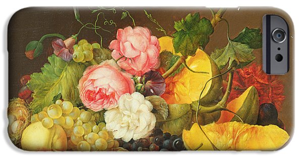 Peach Rose iPhone Cases - Still Life With Flowers And Fruit, 1821 Oil On Panel iPhone Case by Franz Xavier Petter