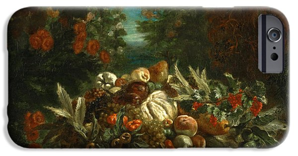 Delacroix iPhone Cases - Still Life with Flowers and Fruit iPhone Case by Eugene Delacroix