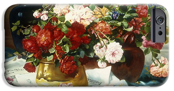 Sheets iPhone Cases - Still Life with Flowers and Sheet Music iPhone Case by Jules Etienne Carot