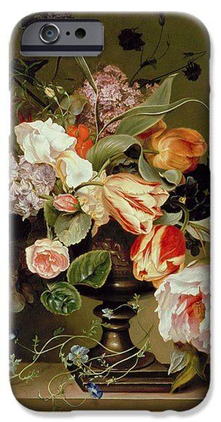 Lilac Flower iPhone Cases - Still Life With Flowers Oil iPhone Case by Marie Geertruida Snabille