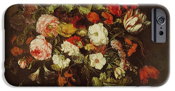 Floral Photographs iPhone Cases - Still Life With Flowers Oil On Canvas iPhone Case by Abraham Hendricksz van Beyeren