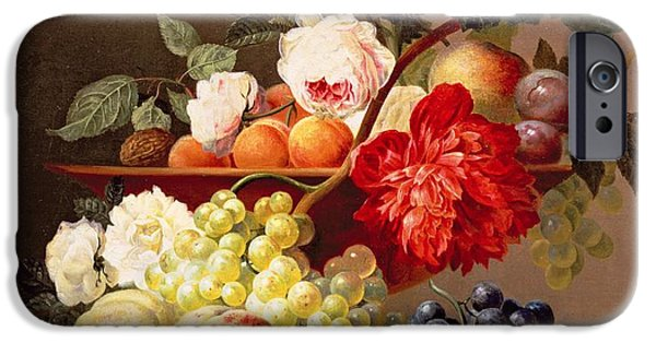 Plum iPhone Cases - Still Life With Fruit And Flowers iPhone Case by Anthony Obermann