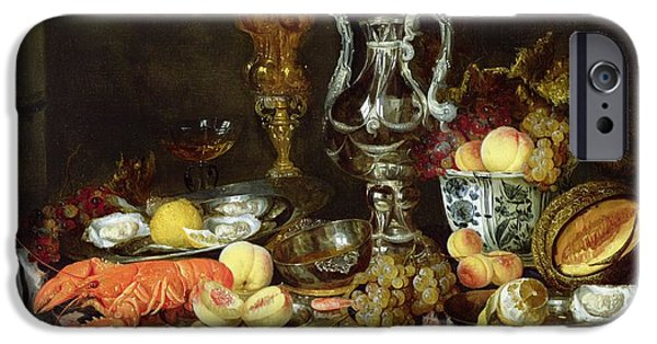 Vine Leaves iPhone Cases - Still Life With Fruit And Shellfish Oil On Canvas iPhone Case by Abraham Hendricksz van Beyeren