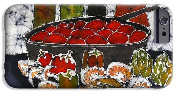 Wine Bottles Tapestries - Textiles iPhone Cases - Still Life with Garden Bounty and Fish iPhone Case by Carol Law Conklin