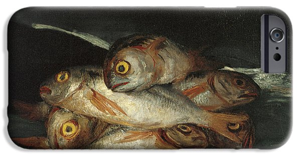 Still Life With Fish iPhone Cases - Still Life with Golden Bream iPhone Case by Francisco De Goya
