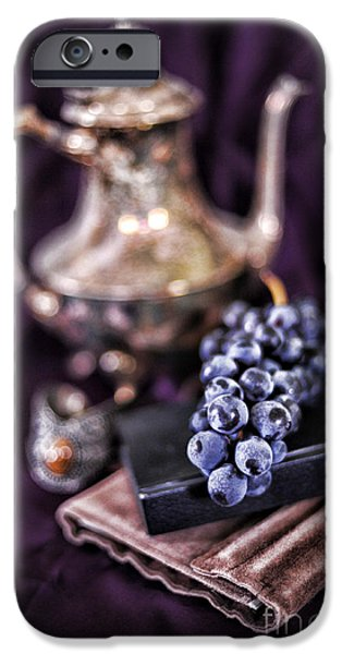 Teapots iPhone Cases - Still Life With Grapes And Silver Teapot iPhone Case by HD Connelly