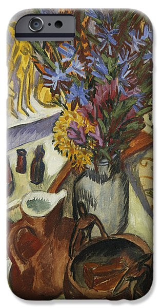 """indoor"" Still Life Paintings iPhone Cases - Still Life with Jug and African Bowl iPhone Case by Ernst Ludwig Kirchner"