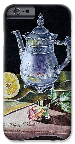 Technique iPhone Cases - Still Life With Lemon And Rose iPhone Case by Irina Sztukowski