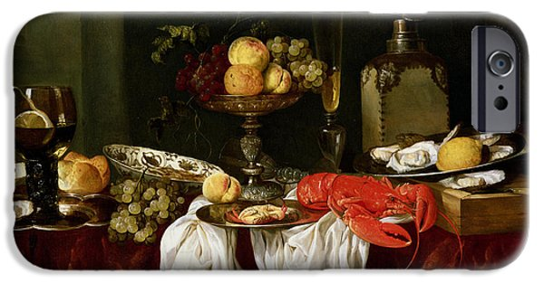 Goblet iPhone Cases - Still Life With Lobster Oil On Canvas iPhone Case by Abraham Hendricksz van Beyeren