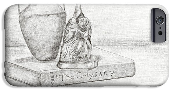 Contemplative Drawings iPhone Cases - Still Life with Monk iPhone Case by Carmela Cattuti