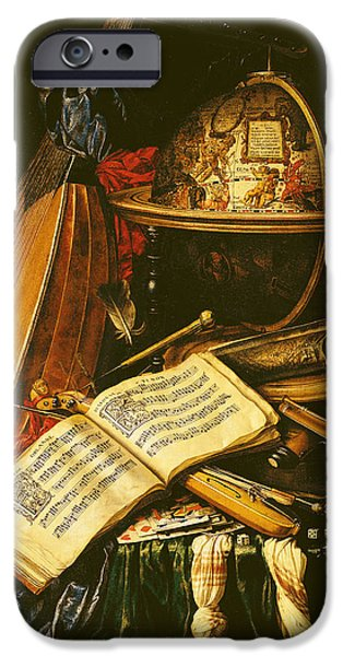 Sheets iPhone Cases - Still Life With Musical Instruments Oil On Canvas iPhone Case by Flemish School
