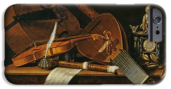 Lute Paintings iPhone Cases - Still life with musical instruments iPhone Case by Pieter Gerritsz van Roestraten
