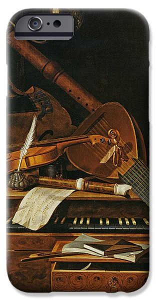 Still life with musical instruments iPhone Case by Pieter Gerritsz van Roestraten