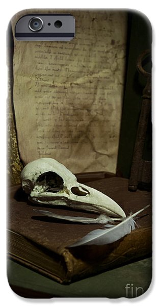 still life with old books rusty key bird skull and feathers iPhone Case by Jaroslaw Blaminsky